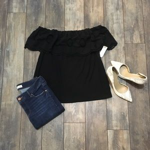 LOFT  Black Off the shoulder top Size Medium NWT